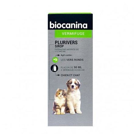 Plurivers sirop Chiens et Chats traitement infestions Fl  90ml - Biocanina