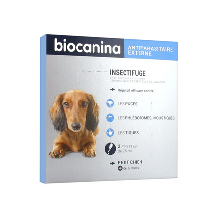 Insectifuge Naturel Spot-On Petit Chien - 2 pipettes - Biocanina