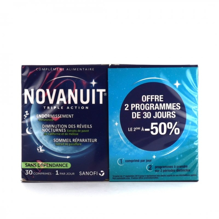 Novanuit triple action - Lot de 2 x 30 gélules - Sanofi France
