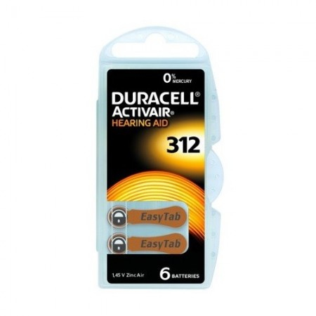 Piles Auditives DURACELL Activair 312 - 1 plaquette