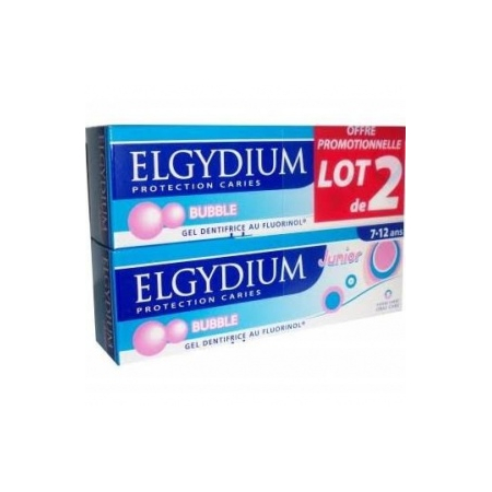Elgydium Junior dentifrice Protection caries 7-12 ans Bubble 2 x 50ml