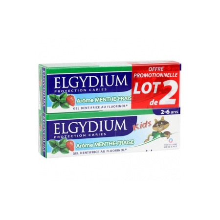 Elgydium Kids dentifrice Protection caries menthe-fraise 2 x 50ml