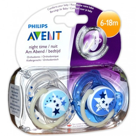 Sucettes orthodontiques silicone Night Time 6-18 mois - 2 unités bleues - Avent