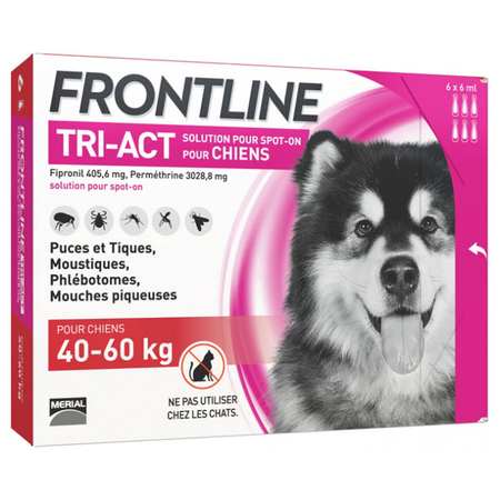 frontline tri act chiens 40-60kg 6 pipettes