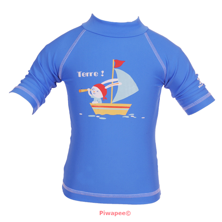 TOP ANTI UV UPF50+  LAPIN BLEU MARINA 24-36M - Piwapee