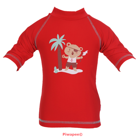 TOP ANTI UV UPF50+  OURSON ROUGE 24-36M