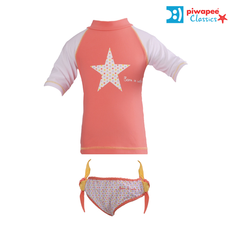 ENSEMBLE TOP ANTI UV UPF50+ ET MAILLOT  STARS CORAIL  24-36M
