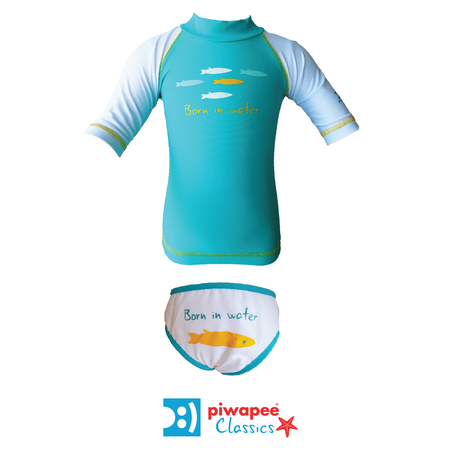 ENSEMBLE TOP ANTI UV UPF50+ ET MAILLOT  SARDINES VERT EMERAUDE 12-24M - Piwapee