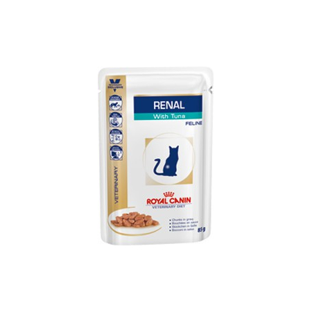 Croquettes Royal Canin Veterinary Diet Cat Renal Thon Sachet 12 x 85 g pour chat