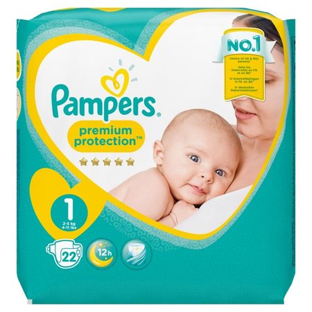 New Baby Premium Protection T1 2-5kg - 22 Couches - Pampers