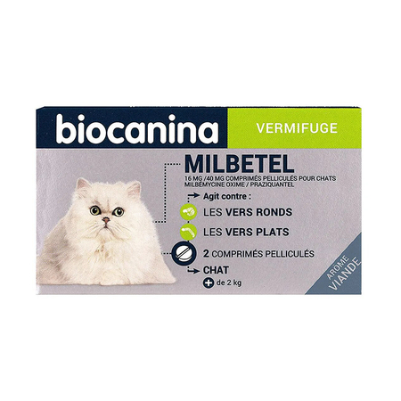 Milbetel vermifuge 16 mg/40 mg - pour chats