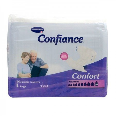 Confiance Confort protection anatomique absorption 10 - paquet de 14 protections taille large