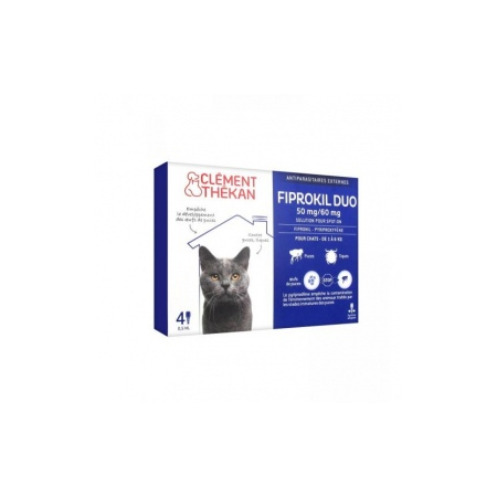 Fiprokil Duo pour chat - 4 pipettes de 0,5 ml - Clement Thekan