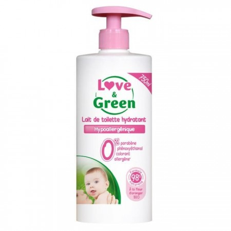 Lait de toilette hydratant hypoallergénique 0% - 750 ml - Love & Green