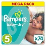 Baby dry Mega pack - Taille 5 - 74 couches - Pampers