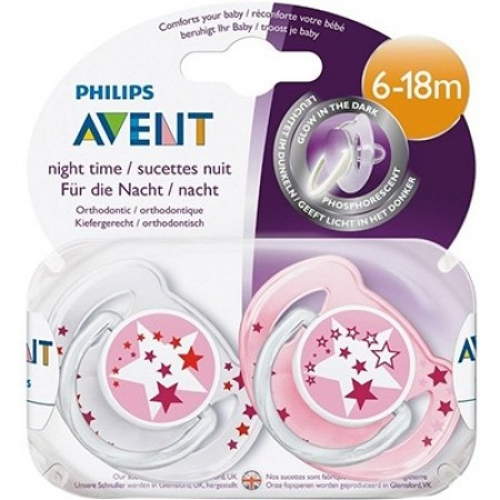 Sucettes orthodontiques silicone Night Time 6-18 mois - 2 unités roses - Avent