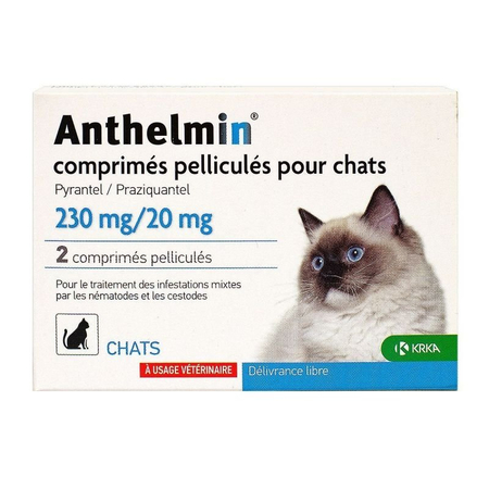 Antiparasitaire Chat - 2 comprimés sécables - Anthelmin
