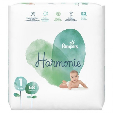 Harmonie - T1 2-5kg - 68 couches - Pampers