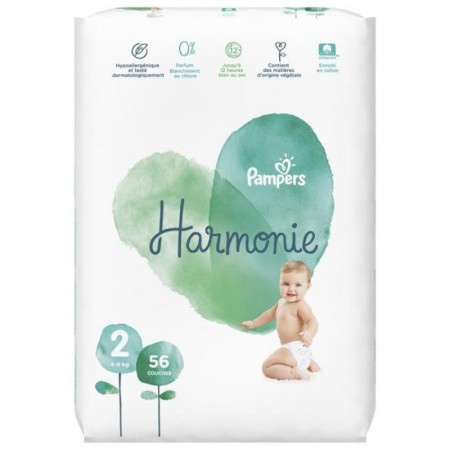 Harmonie - T2 4-8kg - 56 couches - Pampers
