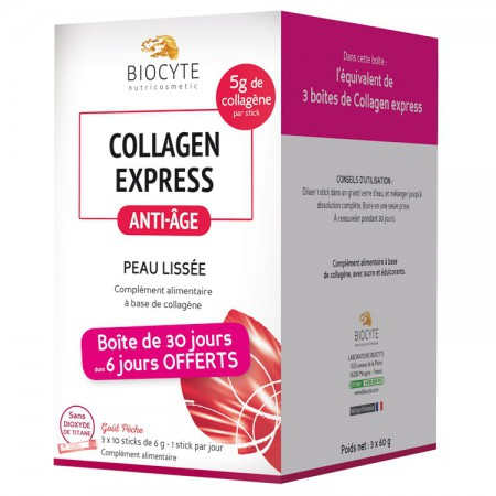 Collagen Express Anti-Age Peau Lissée - 3 x 10 sticks - Biocyte