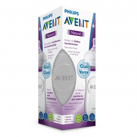 Natural - Biberon en Verre - 1m+ - 240ml - Avent
