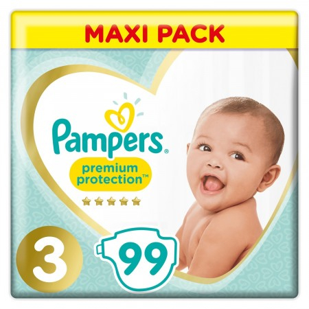 Premium Protection - Taille 3 - 99 Couches - Maxi Pack - Pampers
