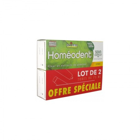 Homéodent - Dentifrice Soin complet dents et gencives - Citron - lot de 2x75ml - Boiron