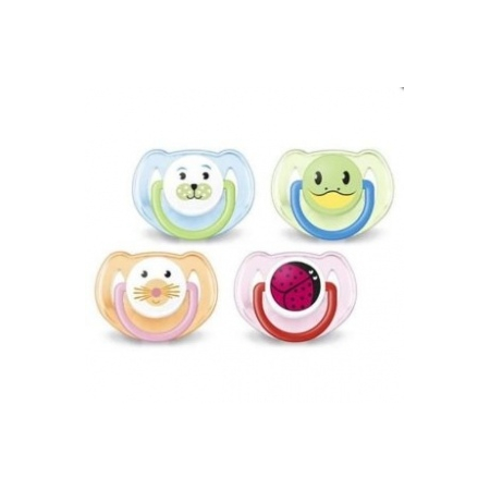 AVENT SUCETTE SILICONE ANIMAUX  6/18MOIS X2 - Avent