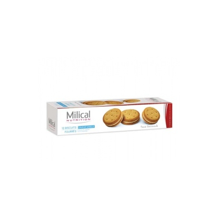Biscuits fourrés saveur vanille  - paquet de 12 biscuits - Milical