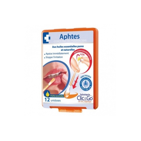 Clic & Go aphte solution buccale 12 unidoses - Biopharme