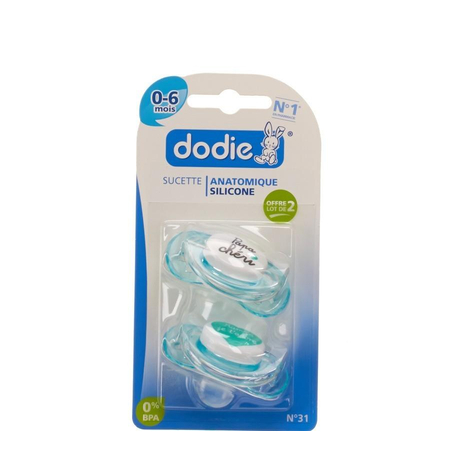Sucette Anatomique Silicone Duo Maman Papa Chéri A31 0-6 mois - Dodie